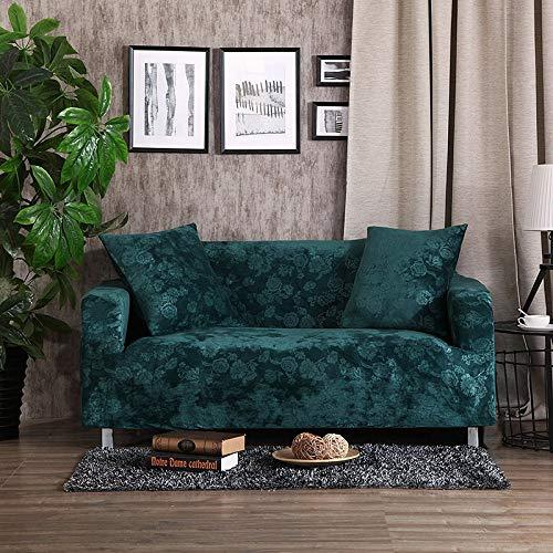 Grea Jacquard Dicke Sofabezüge Universelle Stretch-elastische Couch Hussen Bezüge Plüsch Warm 1/2/3/4 Sitz Dunkelgrün, 1 Sitzer