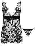 Amorbella Reizwäsche Damen Sexy Korsett Minikleid Nachtwäsche Negligee Lingerie Dessous Set Split Ouvert Spitze mit String Erotik Babydoll (XX-Large, Black)