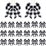 20 Pieces Christmas Bows Decoration Plaid Bows Ornaments Christmas Tree Buffalo Plaid Bows Christmas Plaid Wreath Bows for Christmas Tree Crafts Party Indoor Outdoor Decoration (White and Black)