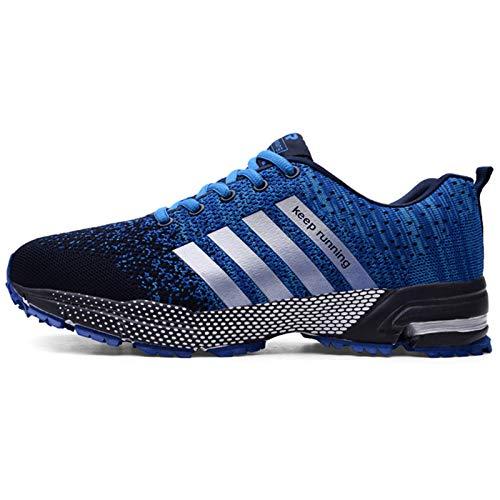 Zwyzspd Zapatillas de correr para hombre y mujer, transpirables, antideslizantes, para el gimnasio, para exteriores, para correr, ligeras., color Azul, talla 37 EU
