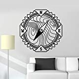 Tianpengyuanshuai Brújula Tatuajes de Pared Navegación Mundial Aventura Vinilo Adhesivo de Pared Dormitorio Sala de Estar Decoración del hogar 42X42cm