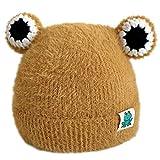VIccoo Sombrero de Copa, Niños Bebé Invierno Tejido Felpa Cálido Beanie Sombrero Dibujos Animados Rana Ojo Cráneo con Puños - Amarillo