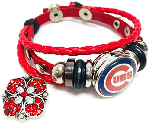 MLB Chicago Cubs Logo Red Leather Bracelet W/Extra 18MM - 20MM Charm Baseball Fans