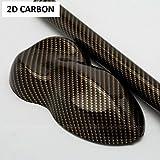 Lámina de carbono Leon Folien Gold 2D, 20 x 30 cm, lámina de carbono para coche, moto, portátil, teléfono móvil, carcasa de PC – Negro Oro Brillo, elástica deformable con canales de aire
