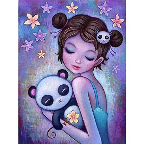 baodanla Kein Rahmen Handarbeiten ng Cartoon Mädchen Panda Stickerei ng Volle Quadratische Mosaik Wand Sticker30x40cm