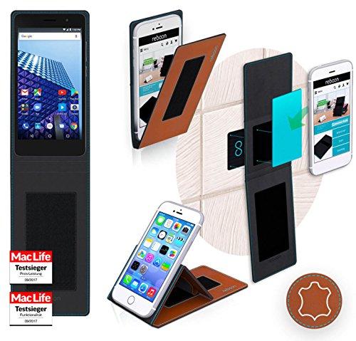 reboon Hülle für Archos Access 50 Color 3G Tasche Cover Case Bumper | Braun Leder | Testsieger