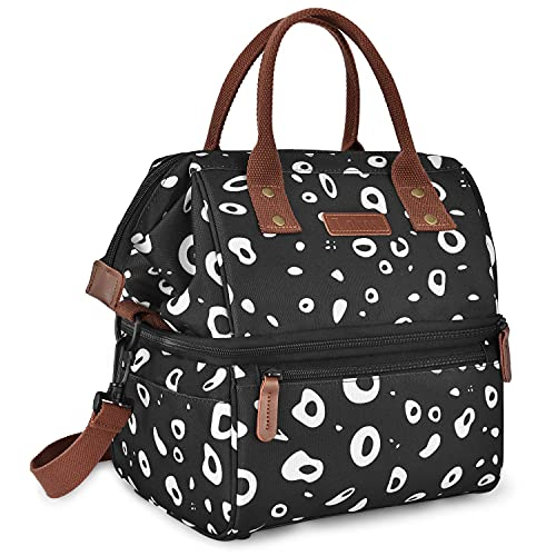 Travel Cooler Bag, Double Layer Cooler Insulated Lunch Bag Large Tote Bag, With Frosted Waterproof Fabric Portable Handbag With Shoulder Strap For Work School PicnicCool Bag (Color : Black)