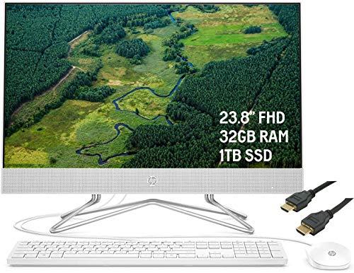"2020 Premium HP 24 All-in-One Desktop Computer 23.8"" FHD WLED Anti-Glare Display AMD Athlon Silver 3050U Processor 32GB RAM 1TB SSD Pop-Up Webcam DVD-Writer HDMI WiFi Win 10 + iCarpHDMI"