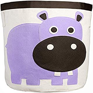Canvas Storage Bins for Kids Toys or Laundry Basket/Baby Hamper Large (Purple Hippo)