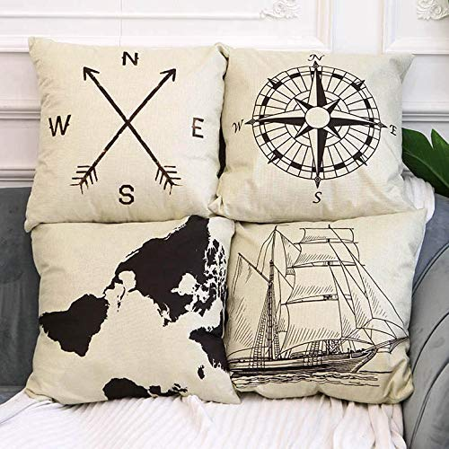 4 Pack Farmhouse Decorative Pillow Cover Home Decor Cotton Linen Nautical Style Throw Pillow Covers Set Of 4 Rustic Sofa Throw Pillow Case Cushion Cover 18 X 18 Inch Arrow Map Ship Compass Buy Online In