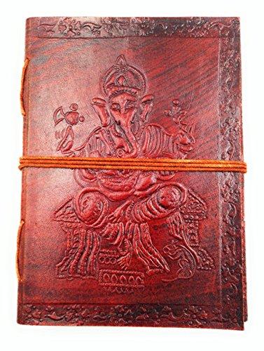 Chic & Zen–Notizbuch/Block Note/Tagebuch/Buch, Echtleder, Vintage, Ganesh,...