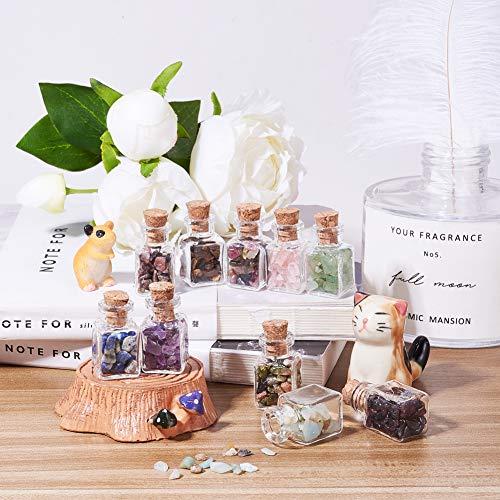 PandaHall 30 Pcs Mini Gemstone Wishing Bottles Tumbled Chip Crystal Healing Gem Reiki Wicca Stones Set for Jewelry Making Home Decoration