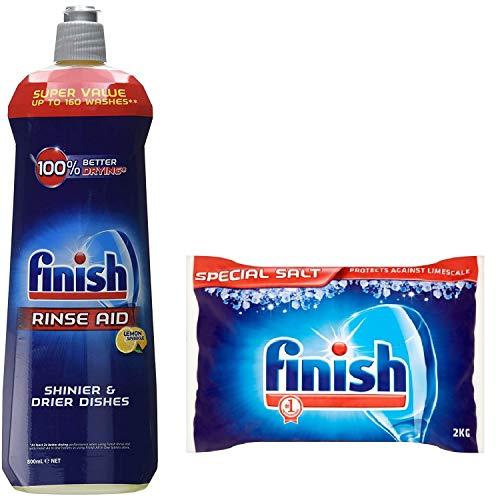 Finish Dishwasher Rinse aid Lemon 800ml & Dishwasher Salt 2kg