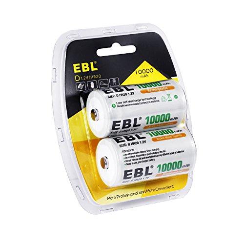 EBL Baterías Recargables D, 10000mAh Batería Ni-MH de Alta Capacidad de célula...