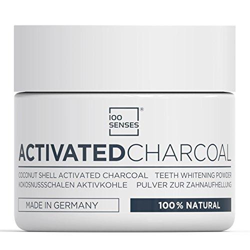 100SENSES Activated Charcoal zur Zahnaufhellung und Pflege, Aktivkohle Pulver aus Kokosnussschalen für weißere und gesündere Zähne, vegan und 100% natürlich