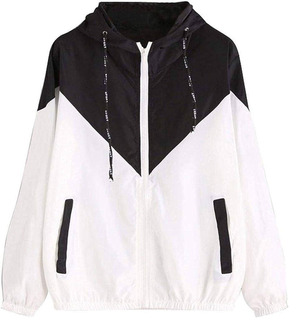 SUNSIOM Women Men Hooded Patchwork Lightweight Windbreaker Jacket Winter Coat Outerwear