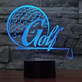 LEDZZ Golf Ball 7 Color 3D Night Light,LED Illusion Lamp Bedside Desk Table Lamp,3D Night Light Lamp with USB Charger and Remote Control, for Boys Girls as Home Decor and A Best Gift