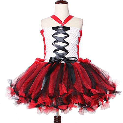 DONGBALA Vampir-Kleid, Mädchen Zombie Kleid Kinder Halloween Dress Up Für Kinder Cosplay Geburtstag Party Show Halloween Weihnachten Karneval Usw Rot 3-8 Jahre Alt,10~12Y