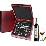 SCYDAO Abrelatas del Vino Caja De Regalo Conjunto, (9Pcs) Botella De Vino Abridor Kit con Aireador, Vertedor, De Aleación De Zinc Manija del Sacacorchos, Deluxe Vino Accesorios De Regalos