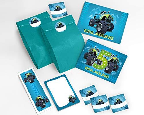 JuNa-Experten 12 Einladungskarten 5. Geburtstag Kinder Junge Jungs Monster-Truck / Auto incl. 12 Umschläge, 12 Tüten / blau , 12 Aufkleber, 12 Lesezeichen, 12 Notizblöcke