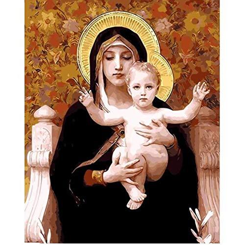 Decoración Madre de Dios pintura al óleo fotos por números fotos digitales para colorear a mano regalo único decoración del hogar Virgen María-40x50 cm con marco