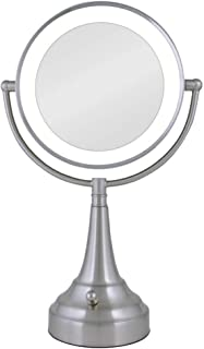 Zadro 10x Mag Next Generation LED Cordless Double Sided Round Vanity Mirror, 11-Inch, Satin Nickel Finish, Silver (LEDSV410)