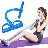 PAIPU Pedal Resistance Band -Sit-up Band 4-Tube Natural Latex Multi-Function Fitness Fat Loss Equipment, Elastic Pull Rope for Abdomen, Waist, Arm, Leg Stretching Slimming Training (Blue)