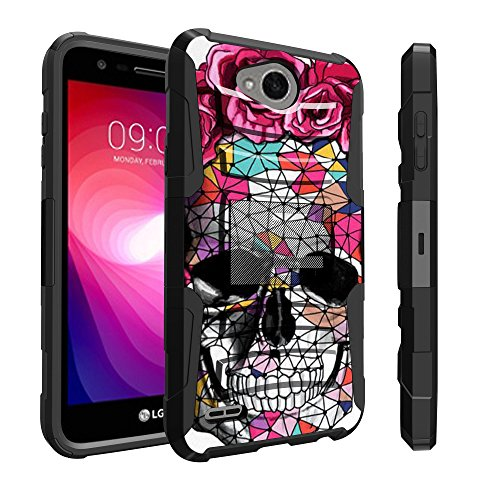 Untouchble Compatible with LG X Power 2 Skull Case, LG Fiesta LTE Holster Case, LG X Charge Case [Heavy Duty] Dual Layer Rugged Hybrid Cover [Kickstand] [Swivel Holster] - Flower Abstract Skull