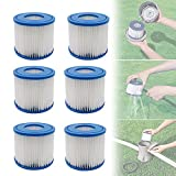 SITAILI Type D Replacement Cartridge for Summer Waves, Type D Pool Filter Cartridges, for Bestway Swimming Pool Filter, Used in Swimming Pool Hot Tub SPA Cleaning Accessories (6 Pcs)