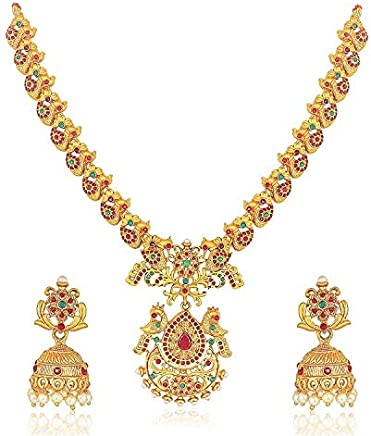 MEENAZ Temple South Indian Red Green Matte Gold Peacock Traditional Long Necklaces Jewellery Sets Jhumki Earrings for Women Girls-NL-352