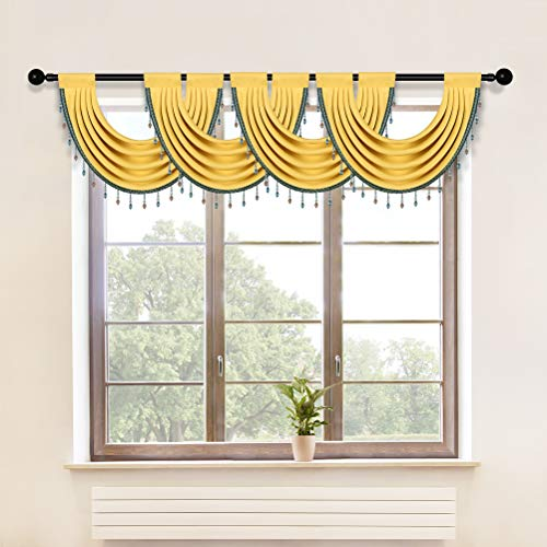 """Yellow Blackout Curtain Valance for Kitchen Beaded Waterfall Swag Valances for Living Room,Pack of 4 (Yellow, 30"""" W x 22"""" L)"""