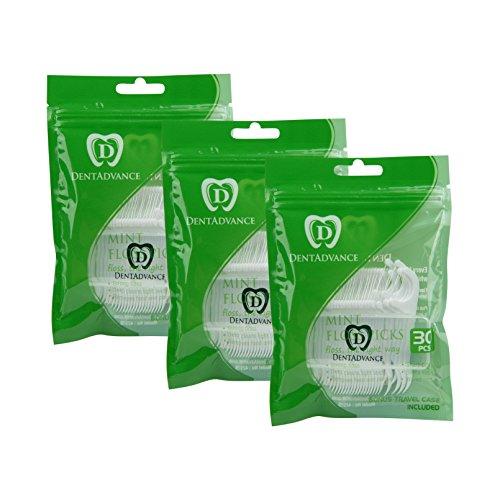 DentAdvance Mint Dental Floss Picks - Premium Angled, Easy Reach Back Teeth   Tooth Flossers   Mint Flavor, Waxed, 90 ct, w/ Travel Case