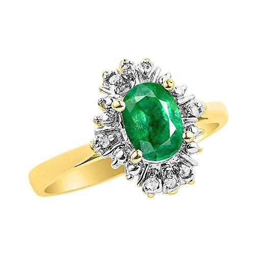Diamond & Emerald - Juego de anillos en oro amarillo de 14 quilates con diamantes
