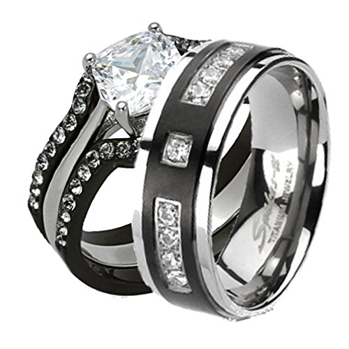 Doublebeez Jewelry His & Hers Stainless Steel Wedding Engagement Ring &...
