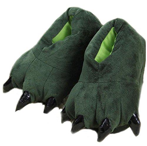 Zapatillas de Animales Zapatillas de Patas de Dinosaurio Zapatillas de Felpa caseras cálidas de Dibujos Animados (34/39 EU, Green)