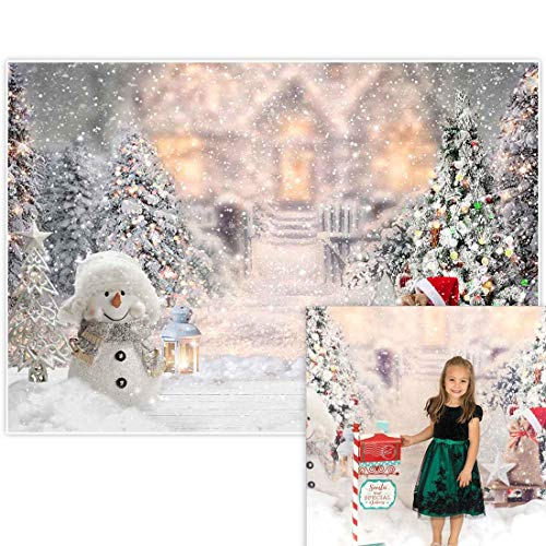 Allenjoy 7x5ft Winter Christmas Backdrop for Photography Snowman Pine Tree Snowflake Portrait White Background Newborn 1st Birthday Children Baby Shower Party Decorations Photo Shoot Props Supplies