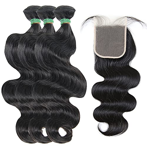 BERRYS FASHION Human Brazilian Hair Body Wave Bundles With Closure Frontal, Weave Virgin Hair Human 613 Blonde 3 Bundles Hd Lace Closure Frontal Wet And Wavy Hair 24 26 28 Sew In Hair Extensions