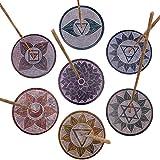 Pack x 7 - Quemador de incienso (incensario). Incienso soporte en piedra pulida. 7 diferentes y únicos diseños grabados de los chakras. Hechos a mano en India.