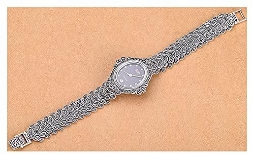 CHXISHOP Reloj de mujer de plata de ley 925 reloj pulsera movimiento de cuarzo retro redondo con incrustaciones de piedras preciosas reloj brazalete con calendario negro - 19cm
