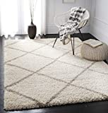 SAFAVIEH Hudson Shag Collection SGH281D Modern Diamond Trellis Non-Shedding Living Room Bedroom Dining Room Entryway Plush 2-inch Thick Area Rug, 8' x 10', Ivory / Beige
