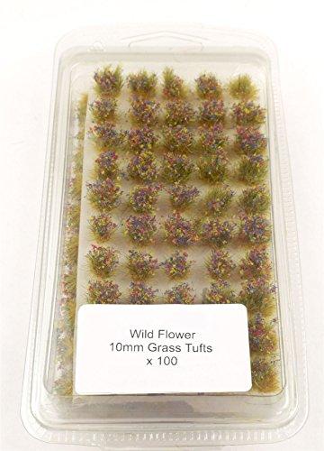 War World Gaming 10mm Wild Blumen Selbstklebende Statische Grasbüschel x 100 - Modellbau Tabletop Gelände Diorama Geländebau