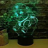 Creative LED3d dessin animé chiot multicolore nuit lumière décoration de la chambre éclairage 3D lampe de table