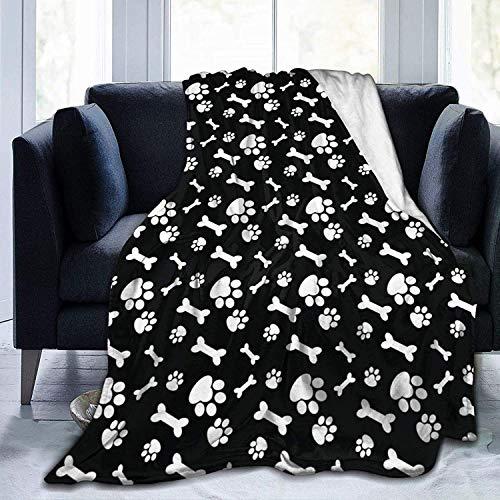 Manta de perro con huella de perro y huesos de pata de perro ultra suave, manta de forro polar súper suave y acogedora para cama, sofá, sala de estar, playa, picnic, otoño, primavera, invierno