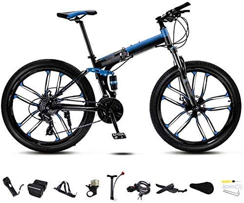 MQJ 24 Pulgadas Mtb Bicicleta Unisex Folding Placking Bike 30-Speed Gear Bici Plegable Mountain Bike Off-Road Velocidad Variable Bicicletas para Hombres Y Mujeres Doble Disco Freno/Azul-Azul,21 V