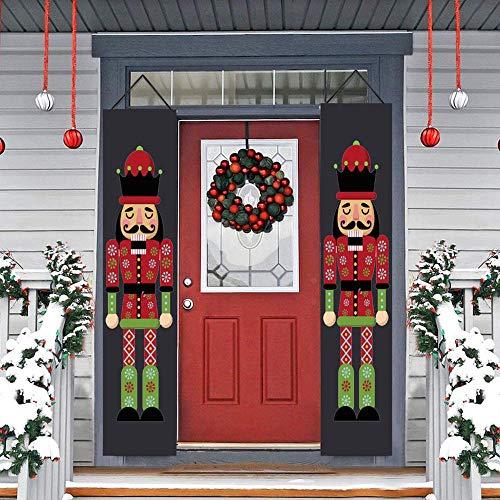 2 Paar Nussknacker Weihnachtsbanner,weihnachten Sentry Soldier Model Banner für Weihnachtsdekorationen, Innen- und Außendekorbedarf (30 × 180 cm / 12 × 71 Zoll) A