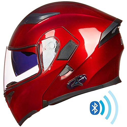 ILM Bluetooth Motorcycle Helmet Modular Flip up Full Face Dual Visor Mp3 Intercom FM Radio DOT Approved (Red, M)