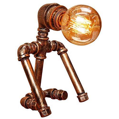 MQW Tischlampen Lampen zum Lesen am Bett Kinderzimmer Cafe Bar, Motent Industrial Rusting Eisentisch Promiscuous, Eisen Edison Tisch Wanton, Retro Pers?nlichkeit Wasserpfeife Schreibtischlampe