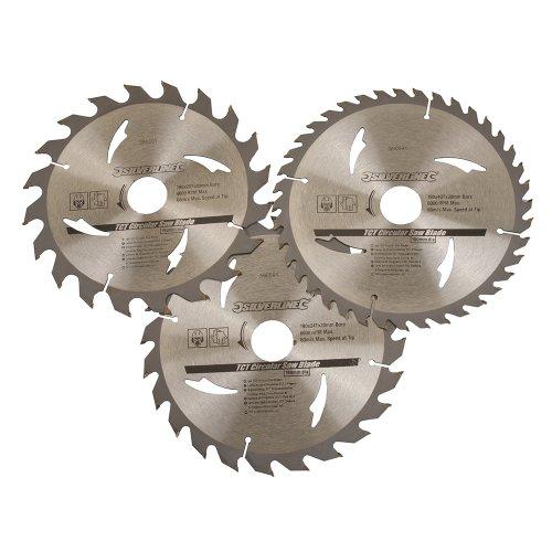 Silverline 590591 Hartmetall-Kreissägeblätter mit 20, 24 und 40 Zähnen, 3er-Pckg. 190 x 30, Reduzierstücke: 24 u. 20 mm