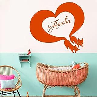 Wall Decals Vinyl Sticker Animals Fox Squirrel Heart Valentine's Day Custom Personalized Name Monogram Baby Girl Boy Nursery Design Children's Room Interior Art Murals Gift Kids Home Décor M187
