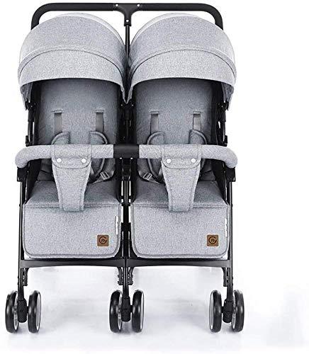 Landaus Double bébé poussette légère double chariot peut Sit And Lie Down pliant Suspension transport Fournitures pour bébé (Color : Gray)